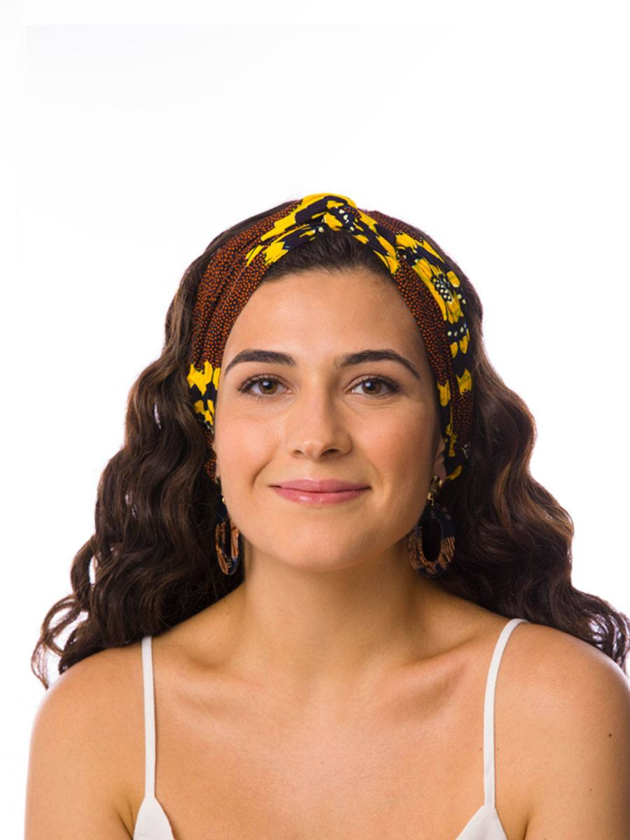 Bandana diadema cinta pelo tela africana wax handmade estampada marron flores amarillas ukat