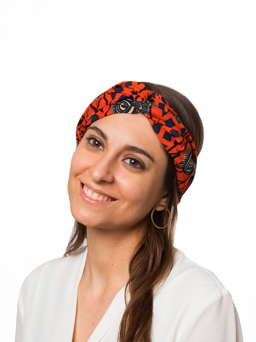 Bandana diadema cinta pelo tela africana wax handmade estampada naranja ukat