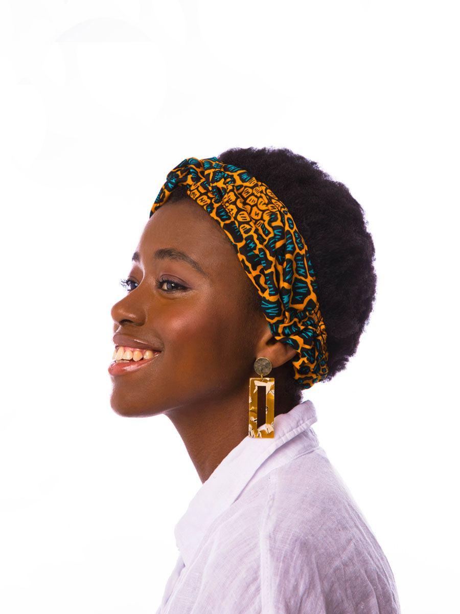 Bandana diadema cinta pelo tela africana wax handmade estampada naranja verde ukat 1 1