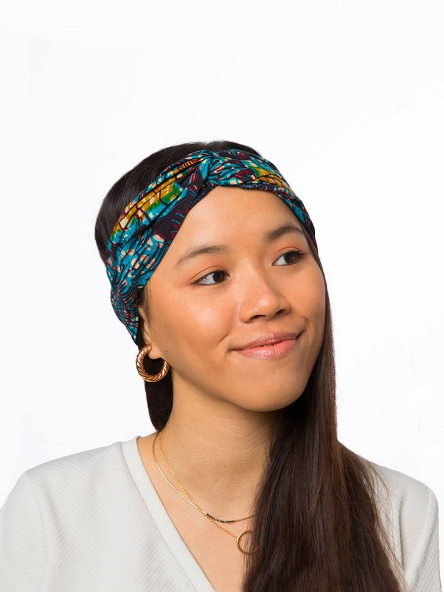 Bandana diadema cinta pelo tela africana wax handmade estampada verde azul ukat